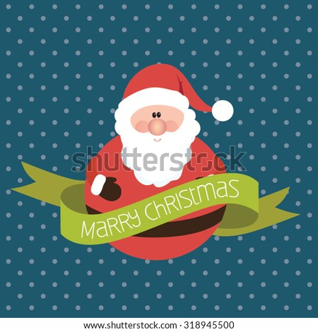 Modern Christmas greeting card. Cute santa claus on blue background - stock vector