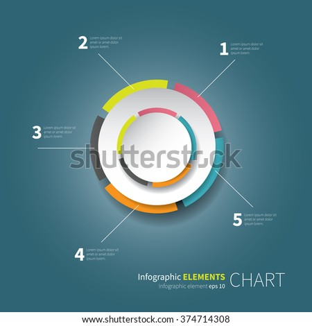 modern circle chart with values and percentage / modern pie chart with 5 option - stock vector