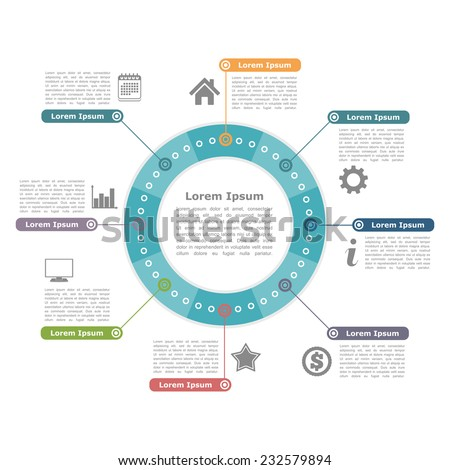 Modern circle infographics with icons and text, round diagram template, vector eps10 illustration - stock vector