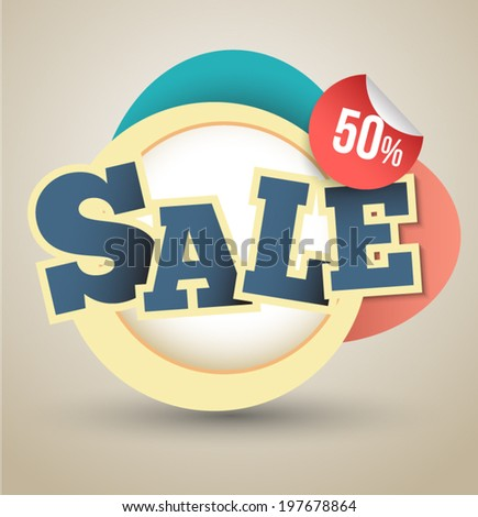 Modern circle Vector illustration with sale text.  can use for promotion advertising. - stock vector