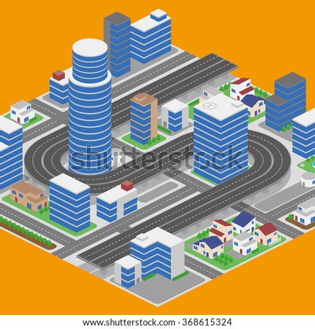 modern city and building, road and overhead highway, vector illustration - stock vector