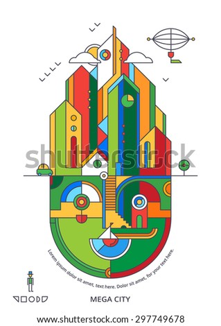 Modern city background, abstract urban elements - stock vector