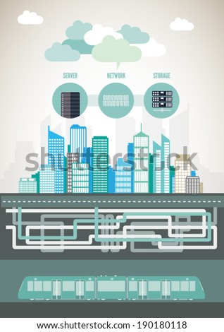 Modern City Background Illustration, Vector Info Graphic, Eps 10, Subway and Buildings - stock vector