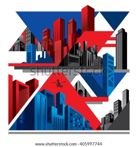 Modern city collage, superhero-ish comic style - stock vector