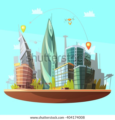 Modern city downtown buildings distinctive skyline and services concept with drone parcels delivery poster cartoon vector illustration