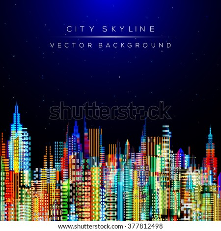 Modern city life abstract background design. City at night, conceptual vector illustration. Well organized composition. - stock vector