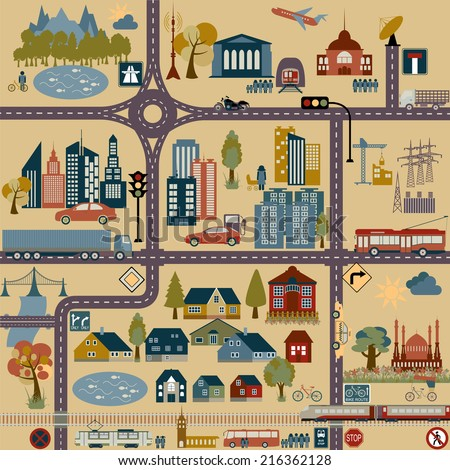 Modern city map elements for generating your own infographics, maps. Vector illustration - stock vector