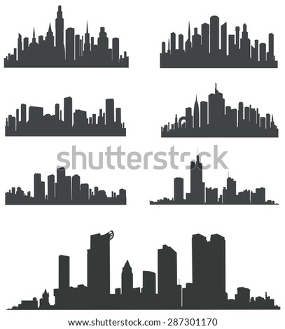 Modern City Panorama with Skyscraper . Buildings Silhouette. Vector set .