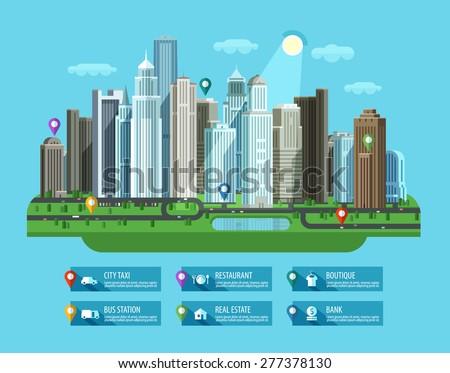 Modern city. Set of elements - building, house, metropolis, road, transport, car, highway, street - stock vector