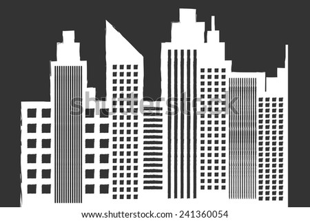 Modern City Skyline With Skyscrapers On Blackboard Vector