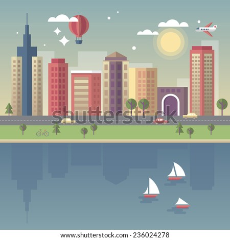 Modern city vector illustration in flat style - stock vector