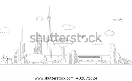 modern cityscape panorama view, futuristic buildings and transportation, design template, line drawing illustration - stock vector