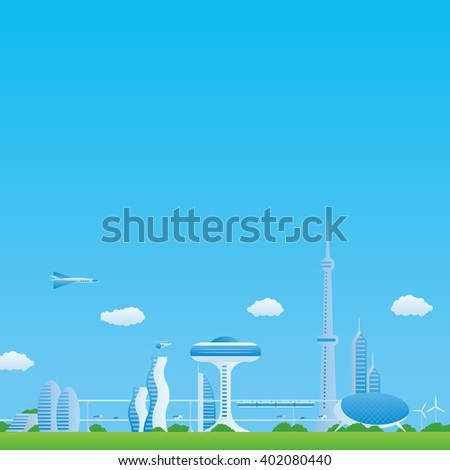 modern cityscape panorama view, futuristic buildings and transportation, design template, vector illustration - stock vector