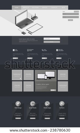 Modern Clean One page website design template. with isometric Laptop vector eps10  - stock vector