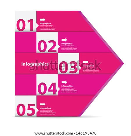 Modern clean pink Design template / can be used for infographics / numbered banners / graphic or website layout vector