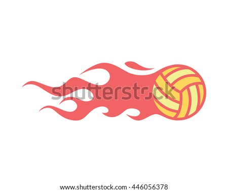 Modern Clean Volleyball Logo - Flaming Ball On Fire Symbol - stock vector