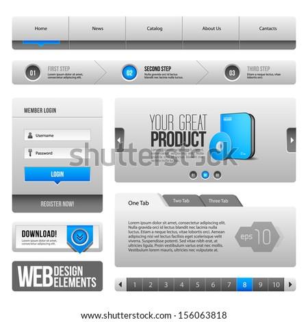 Modern Clean Website Design Elements Grey Blue Gray: Buttons, Form, Slider, Scroll, Carousel, Icons, Tab, Menu, Navigation Bar, Download, Pagination  - stock vector