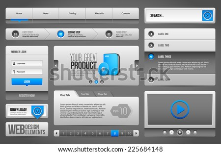 Modern Clean Website Design Elements Grey Blue Gray: Buttons, Form, Slider, Scroll, Carousel, Icons, Menu, Navigation Bar, Download, Pagination, Video, Player, Tab, Accordion, Search - stock vector