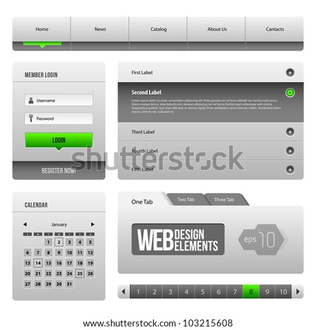 Modern Clean Website Design Elements Grey Green Gray 3: Buttons, Form, Slider, Scroll, Carousel, Icons, Menu, Navigation Bar, Download, Pagination, Video, Player, Tab, Accordion, Search, - stock vector