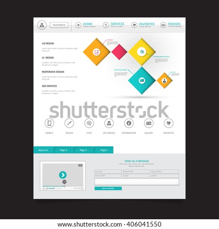 Modern Clean Website Template  - stock vector