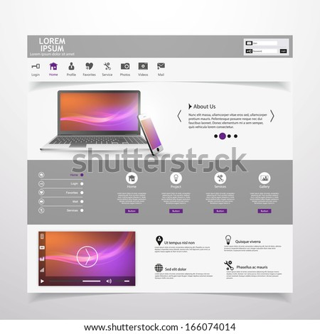 Modern Clean Website Template with Video Player and Notebook, Smart Phone illustration,   - stock vector