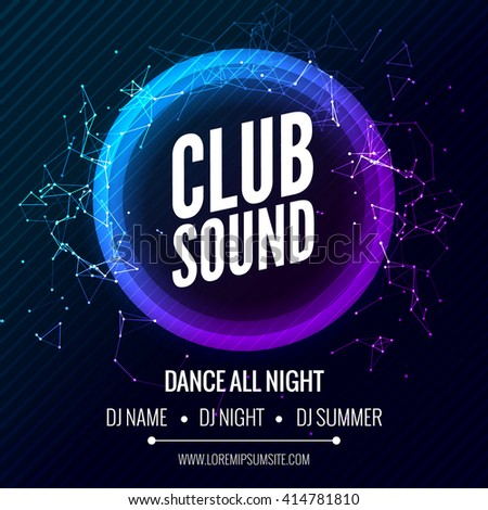 Modern Club Music Party Template, Dance Party Flyer, brochure Banner Poster - stock vector