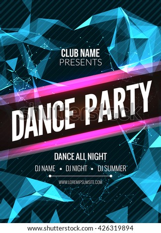 Modern Club Music Party Template, Dance Party Flyer, brochure. Night Party Club sound Banner Poster - stock vector