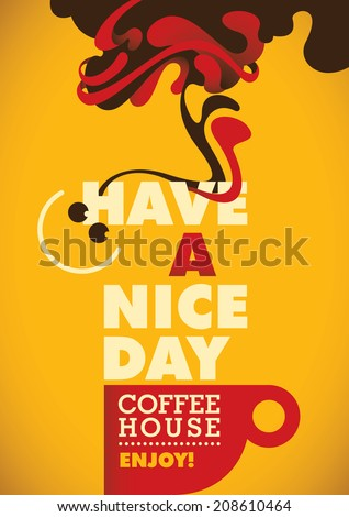 Modern coffee poster. Vector illustration. - stock vector