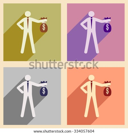 Modern collection flat icons with shadow man with bag money - stock vector