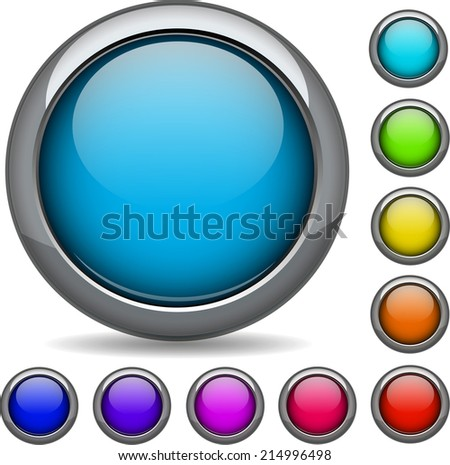 modern collection of glossy round 3d vector button set signs - stock vector