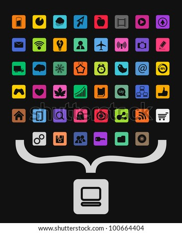 Modern color icons collecting into personal computer symbol - stock vector