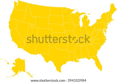 United States Map All States Stock Vector Shutterstock - Us state map editable color