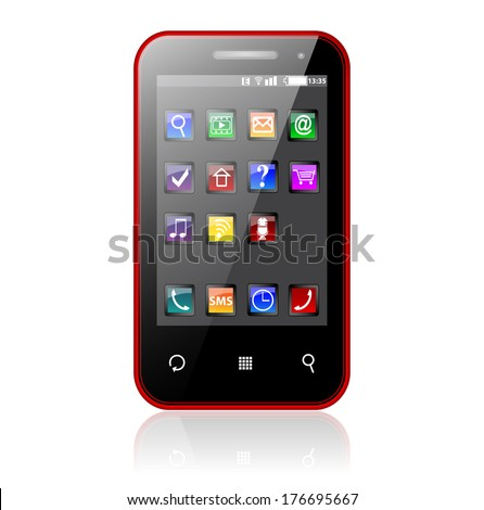 Modern color smartphone with colorful touchscreen interface isolated on white background with reflection effect