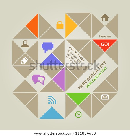 Modern color social media content template with icons - stock vector