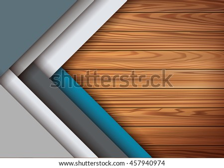 Modern colored material design elements in combination with realistic wooden surface background . Modern vector graphic design template. Applicable for Cover  - stock vector
