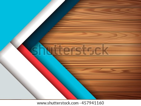 Modern colored material design elements in combination with realistic wooden surface background . Modern vector graphic design template A4 format .  - stock vector