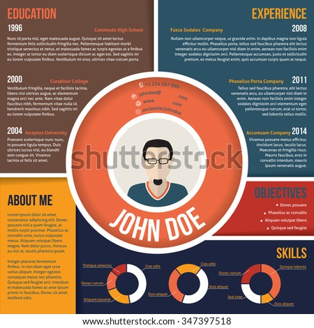 Modern colorful areas curriculum vitae cv resume template design - stock vector