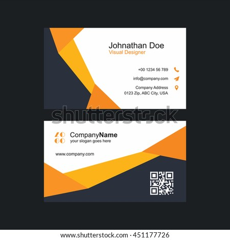Modern colorful business card template orange stock vector royalty modern colorful business card template orange and gray with barcode colourmoves