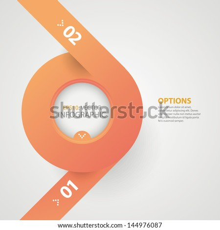 Modern colorful circle, ribbon origami style options banner. Can used in workflow layout, infographics, step up options, web design. Vector illustration.
