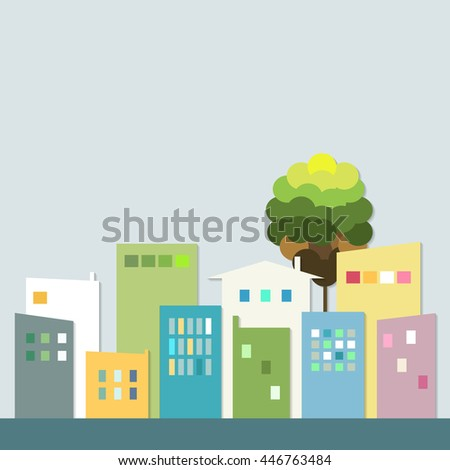 Modern Colorful City. Healthy Living Quarter - stock vector