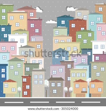 Modern Colorful City With Clouds And Street, Winter Theme