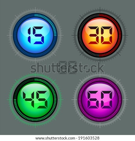 Modern colorful digital timer - stopwatch vector set - collection