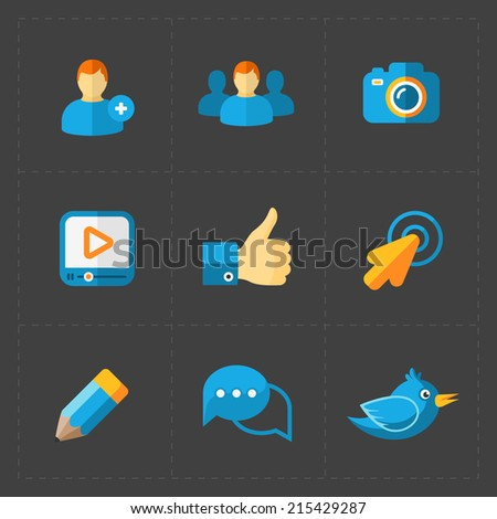 Modern colorful flat social icons