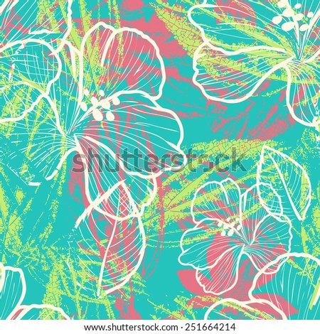 modern colorful floral seamless pattern with leaves prints elements - stock vector