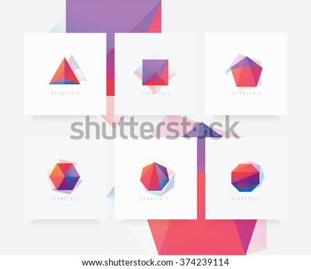 Modern colorful geometric polygonal shapes collection. Triangle, cube, pentagonal shape, hexagon, polygon symbols.  - stock vector
