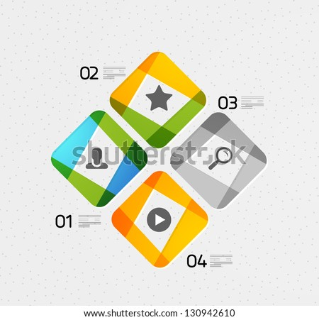 Modern colorful geometrical design template. Can be used as infographics, numbered banners, background template, block schemes, web layout - stock vector