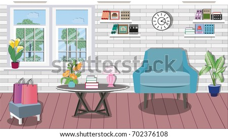 Modern Colorful Living Room Interior Design With Large Window Comfortable Stylish Furniture