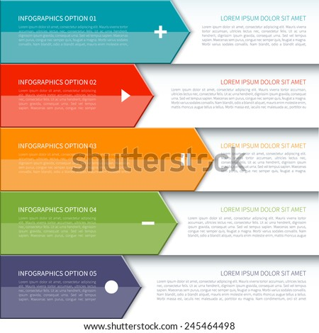 Modern colorful minimal arrow infographics elements. Origami style. Vector illustration. Can be used for workflow layout, brochure, diagram, number and step up options, web design. - stock vector