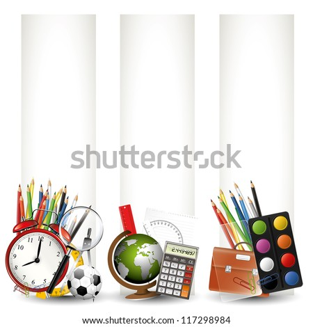 Modern colorful school banners - stock vector