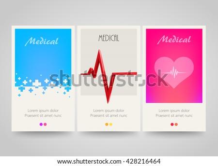Modern colorful vertical medical banners. Abstract flyer set. Medicine background. Vector illustration - stock vector